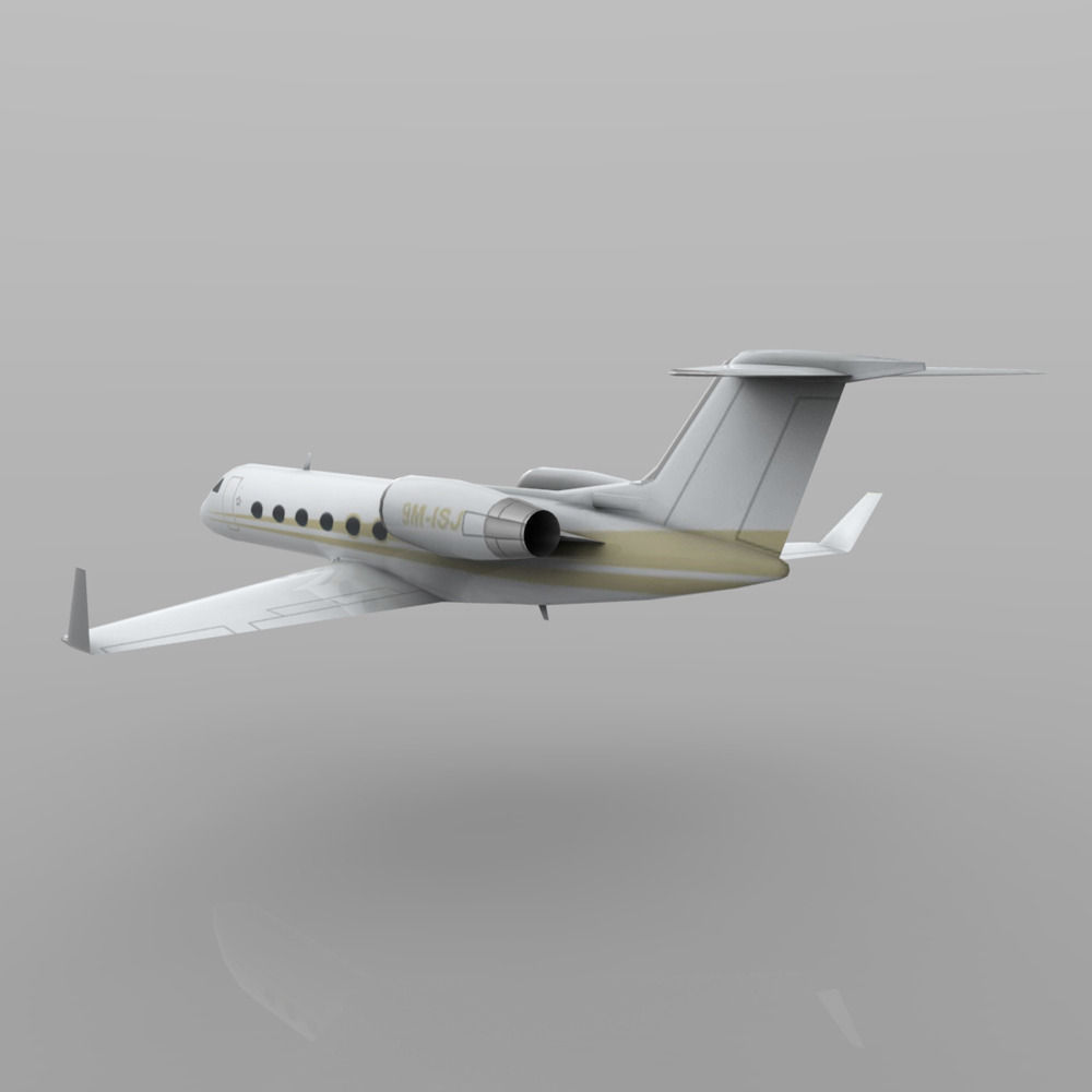 3D Model Gulfstream G450 Executive Jet Aircraft VR  AR  Lowpoly Rigged OBJ