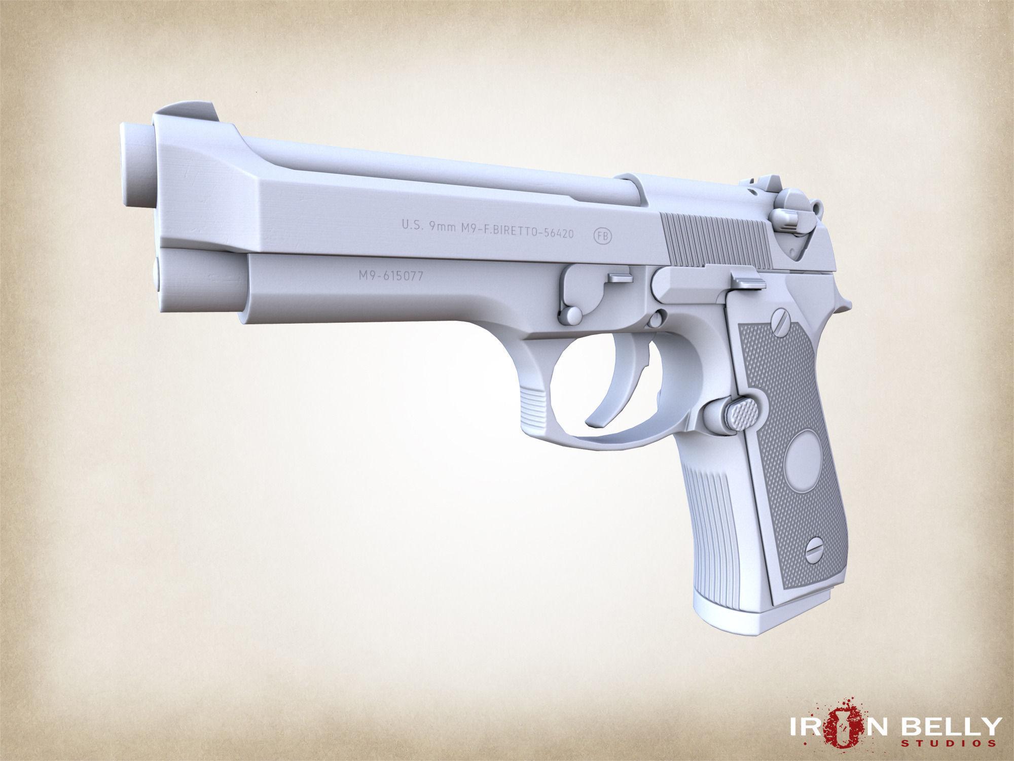 3d model aaa fps beretta m9 pistol game ready cgtrader