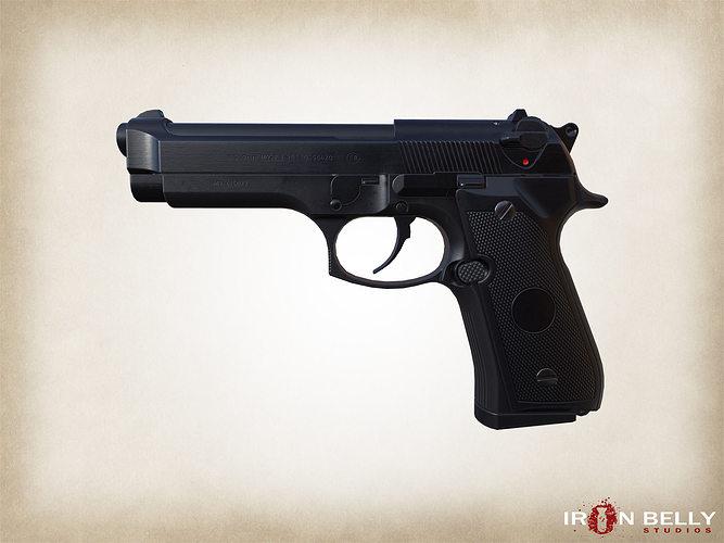 aaa fps beretta m9 pistol game-ready 3d model low-poly obj mtl fbx tga 1