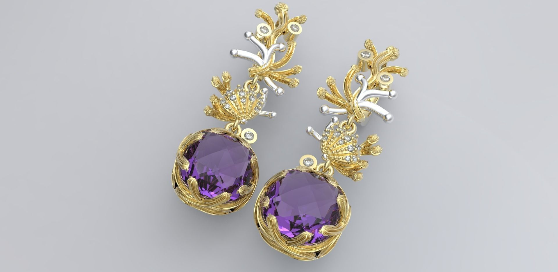 gold earrings 3D printable model   CGTrader