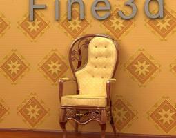 Asymmetric Carved Chair 3D model