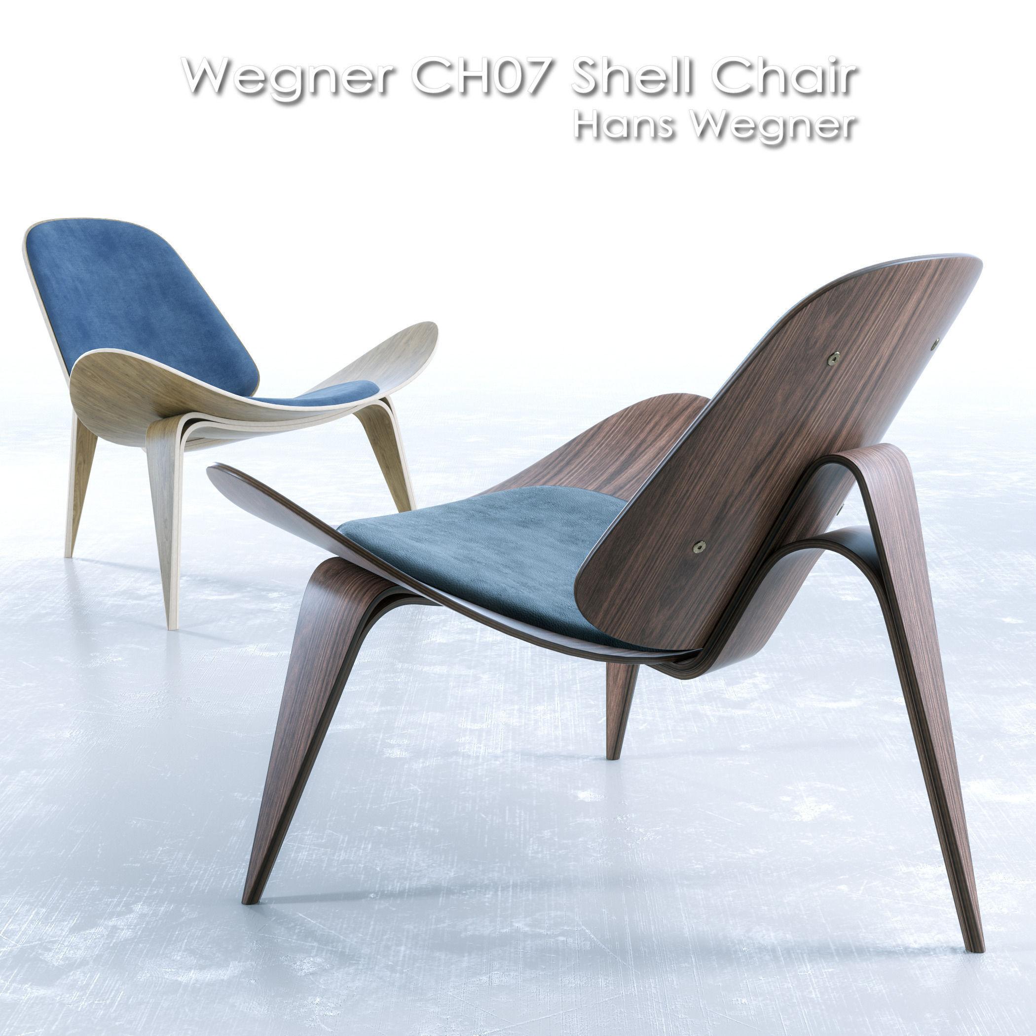 Hans wegner shell chairs - Wegner Ch07 Shell Chair 3d Model Max Obj Fbx Mat 1