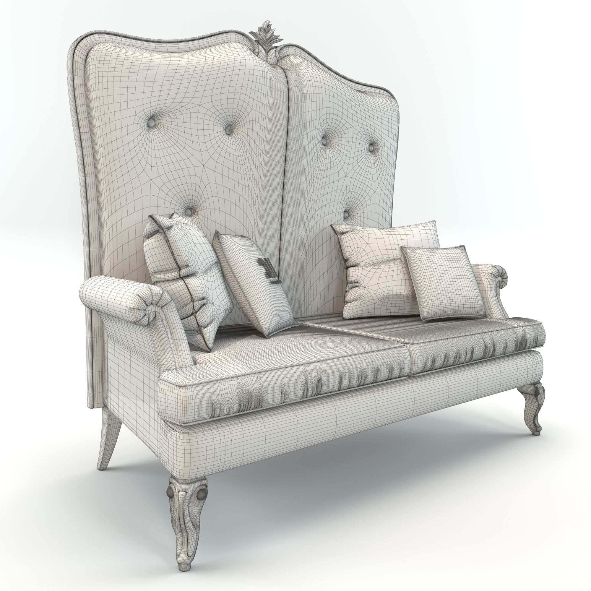 ... High Back Classic Elegant Sofa By Dv Home Collection 3d Model Max Obj  Fbx Mtl 5