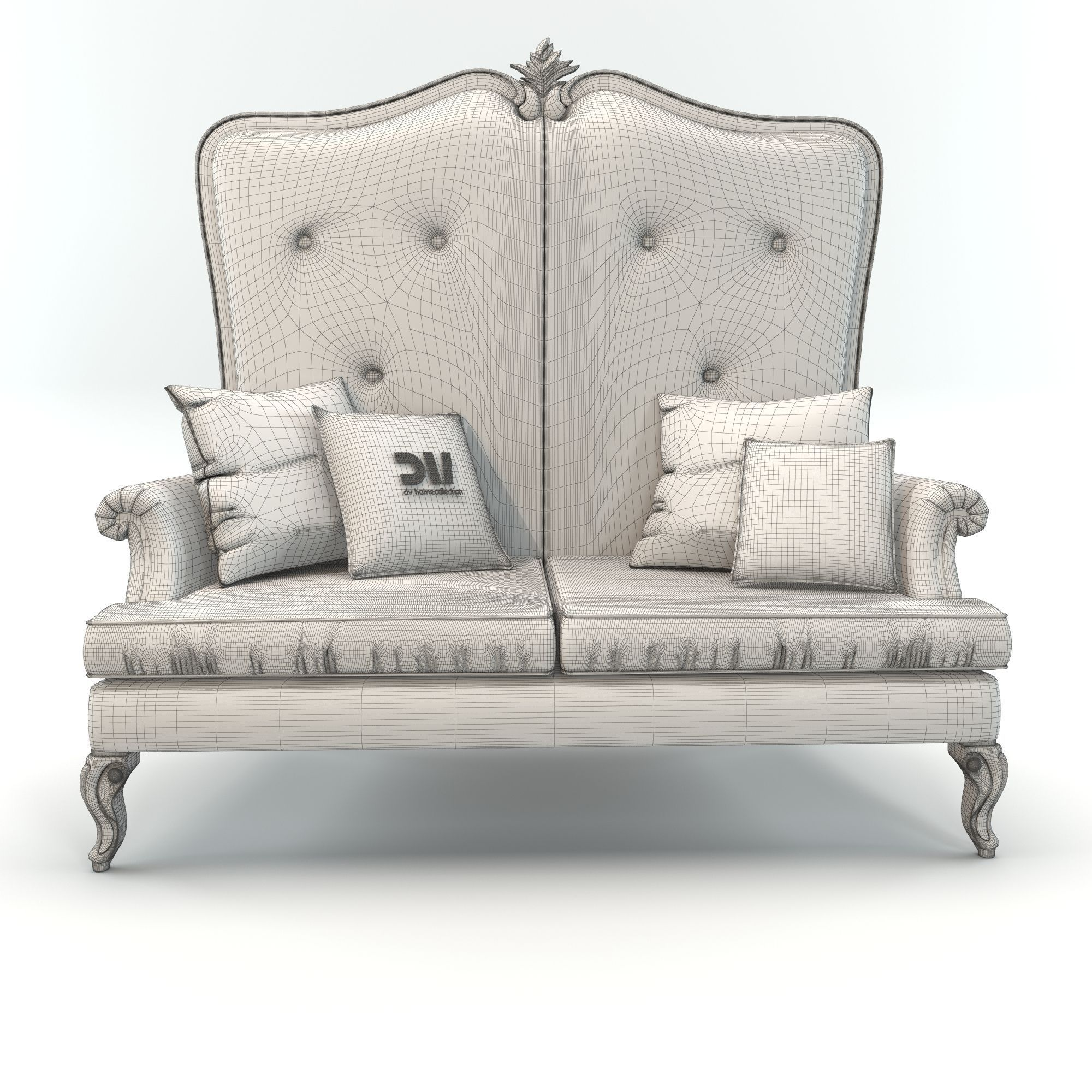 High Back Classic Elegant Sofa by DV Home Collection 3D model MAX