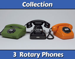 Rotary Telephones Collection 3D