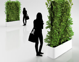 green wall in pot 3d