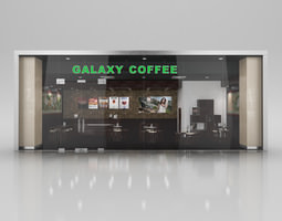 Coffee Shop with Interior 3D