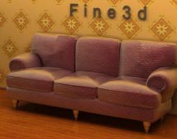 3D Three-seat rough material sofa