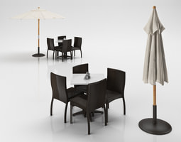 3d rattan chairs set with table and outdoor umbrella