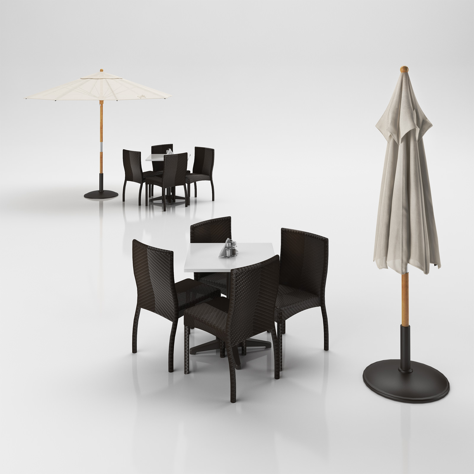 Rattan Chairs Set with Table and Outdoor Umbrella 3D model MAX OBJ