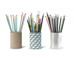 3 Pot pencils 3 Pots a crayons ciseaux regles 3D Model