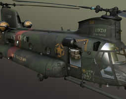 3d model chinook mh-47 rigged