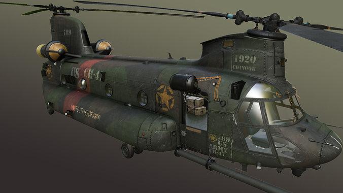 chinook mh-47 3d model max obj mtl fbx ma mb tga 1