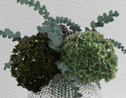 3D model Green hydrangeas with eucaliptus Baby blue in 1