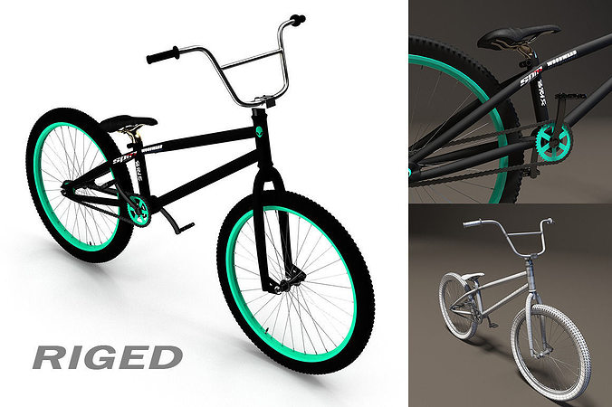 bmx bicycle 3d model rigged animated max obj 3ds fbx mtl 1