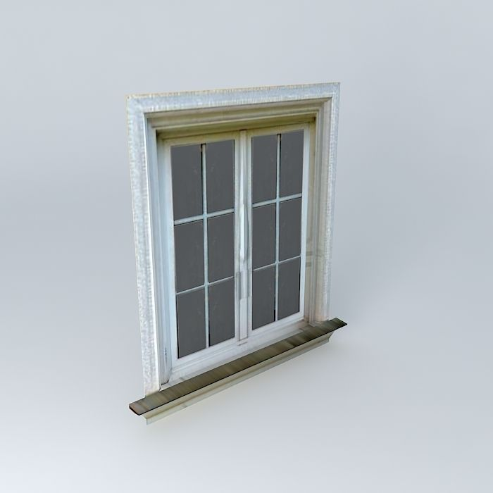 Low poly window free 3d model max obj 3ds fbx stl dae for Window 3d model