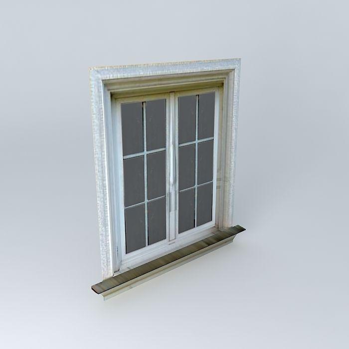 Low poly window free 3d model max obj 3ds fbx stl dae for Window 3d model