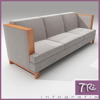 Sensational Living High Arm Sofa 3D Model Theyellowbook Wood Chair Design Ideas Theyellowbookinfo