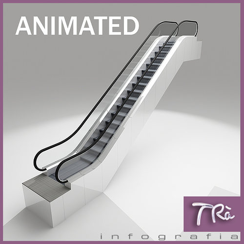 Escalators 3d model animated max 1