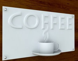3d printable Coffee Sign with Text STL OBJ 3D Model