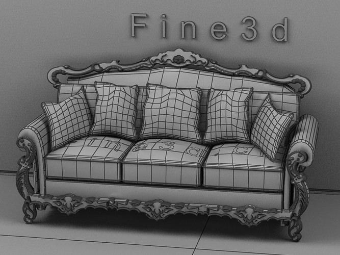 ... Wood Carved Sofa 3d Model Max Obj 3ds 2
