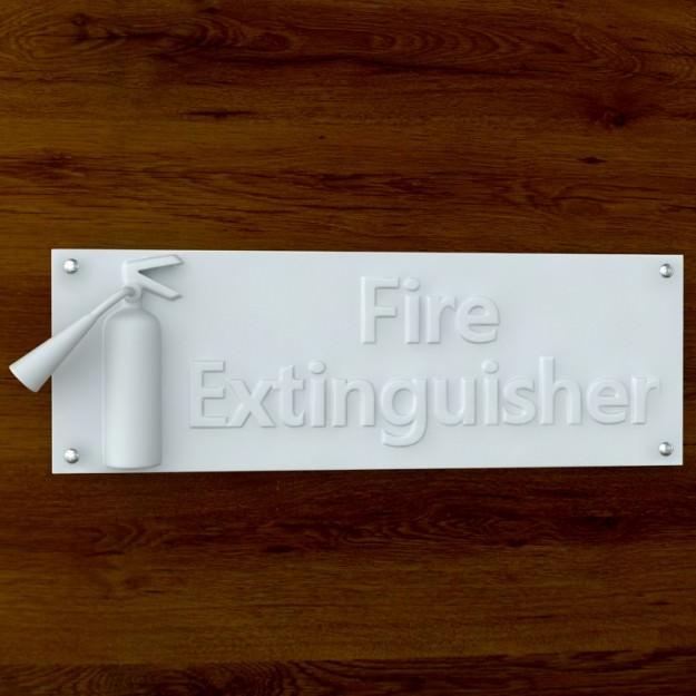 3d Printable Fire Extinquisher sign STL OBJ