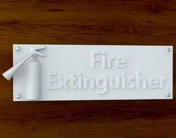 3d printable fire extinquisher sign stl obj 3d model obj stl