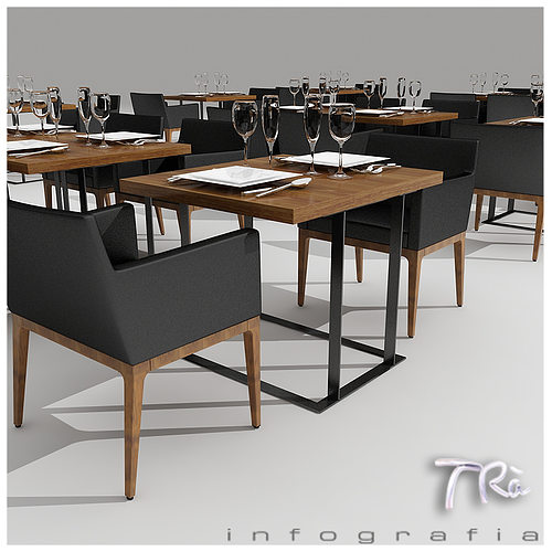 Restaurant Kitchen 3d Model 3d restaurant tables area | cgtrader