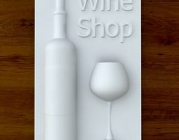 3d Printable Wine shop sign STL OBJ