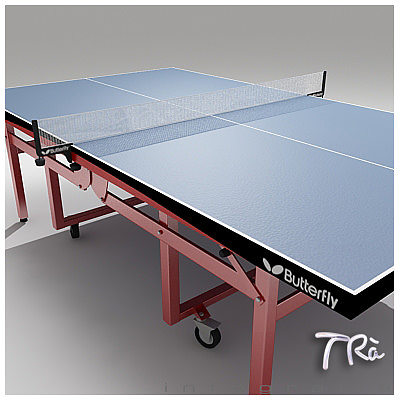 PING PONG TABLE BUTTERFLY WHEELS 3D model M -> Model Table Tele