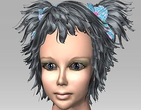 Hairstyle with tassels on a girl 3D