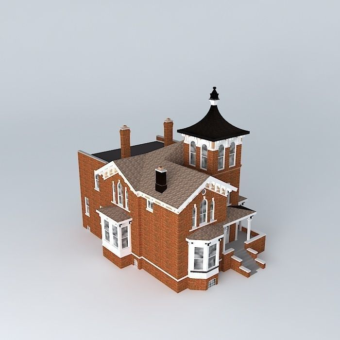 Victorian mansion free 3d model max obj 3ds fbx stl dae for Free 3d house models