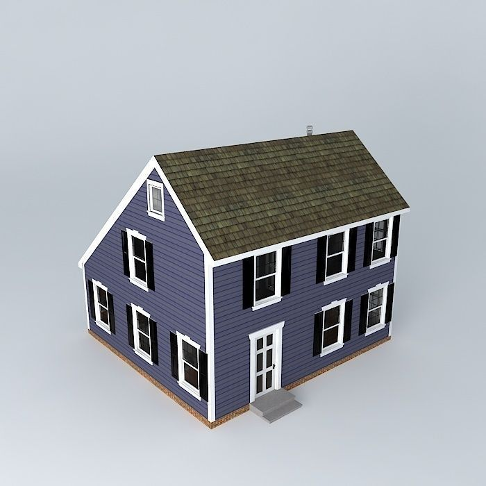 Colonial Saltbox House 3d Model Max Obj 3ds Fbx Stl Dae 1