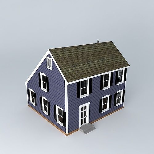 Colonial Saltbox House 3D