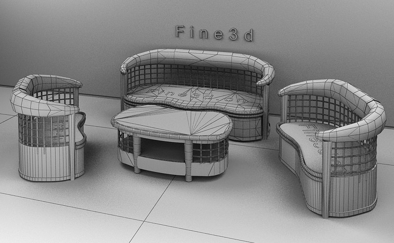 Outdoor furniture set 3d model max obj 3ds for Outdoor furniture 3d max