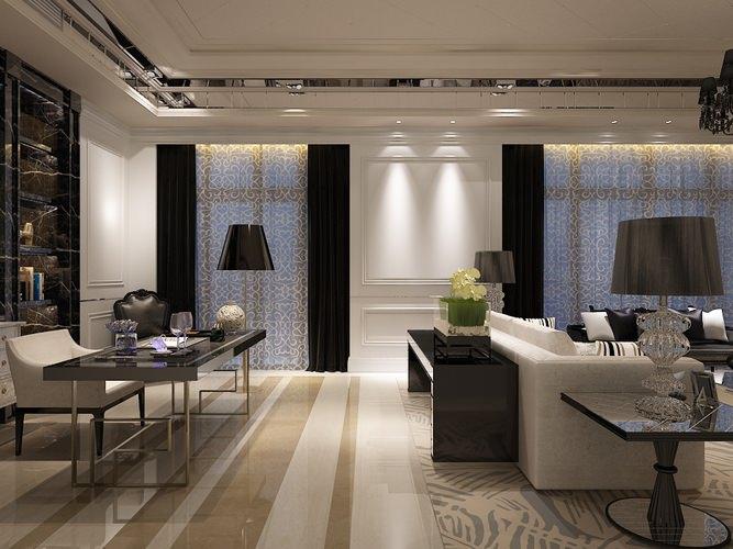 Living Room Work Desk Interior Photoreal 3D Model