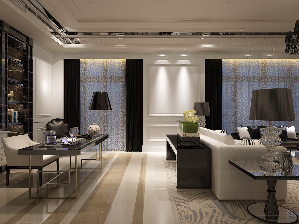 Living Room work desk interior Photoreal 3D model MAX
