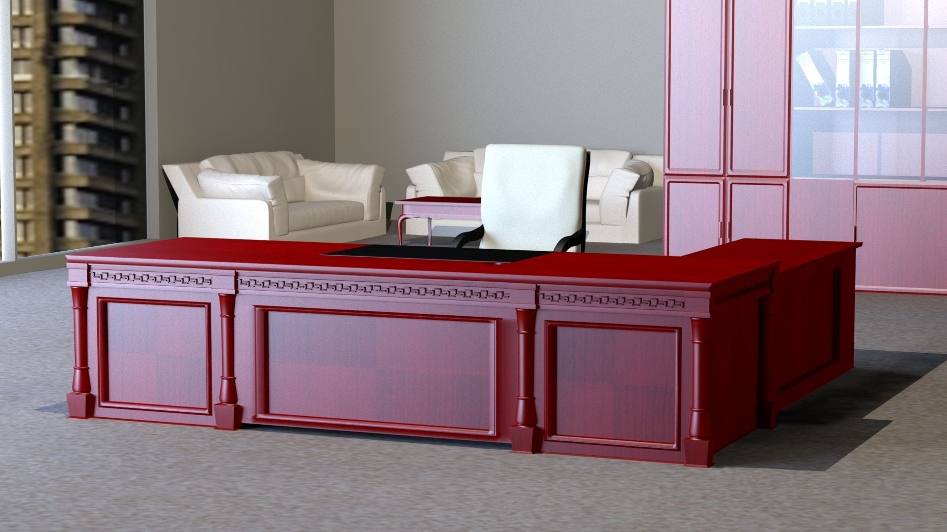 classic office desk. Classic Executive Veneer Desk With Office Furniture 3d Model Max Obj Mtl 1 O