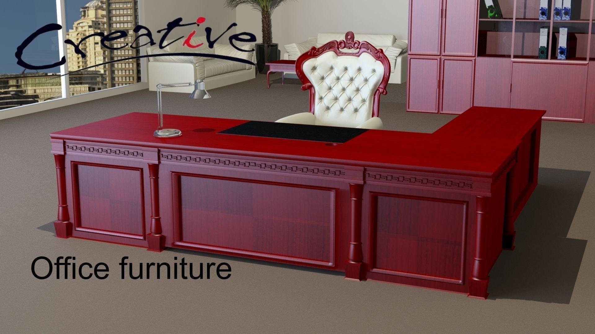 classic office desks. Classic Executive Veneer Desk With Office Furniture 3d Model Max Obj Mtl 8 Desks