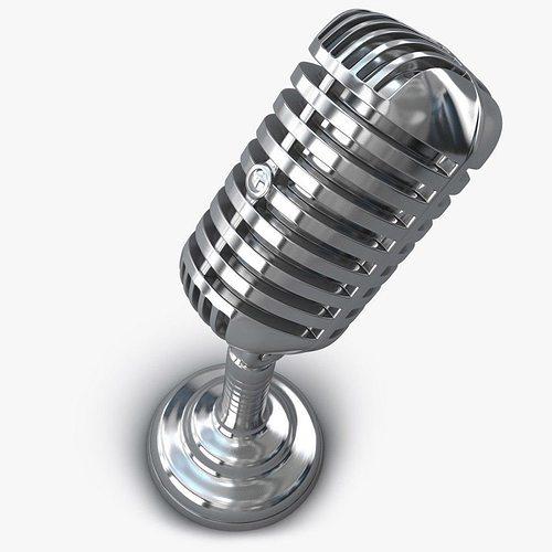 retro microphone 3d model obj mtl 3ds fbx c4d 1