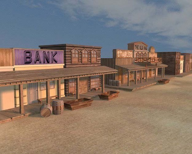 old west town aaa 3d model low-poly obj ma mb tga 1
