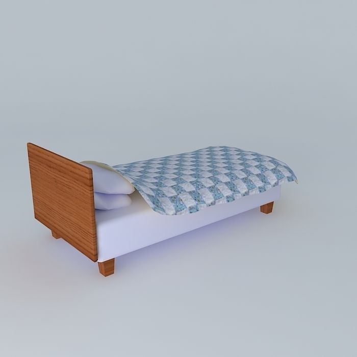 Simple Single Bed : Single simple bed free 3D Model MAX OBJ 3DS FBX STL DAE - CGTrader.com