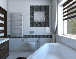 3D model Bathroom with angular bath