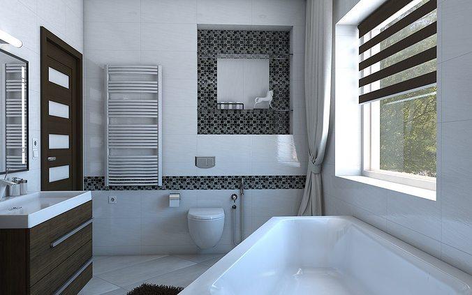Bathroom with angular bath 3D model
