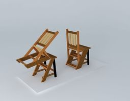 turn chair turned, saw ladder 3d model
