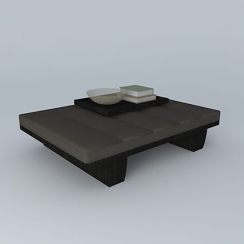 Leather Coffee Table With Tray: Leather Coffee Table With Tray 3D