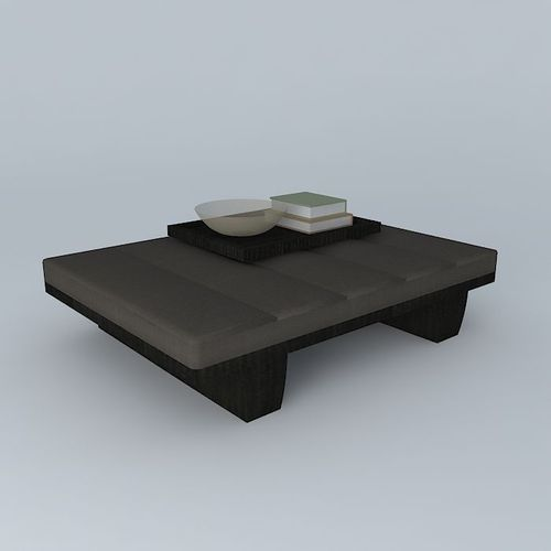 leather coffee table with tray 3d model max obj 3ds fbx stl dae