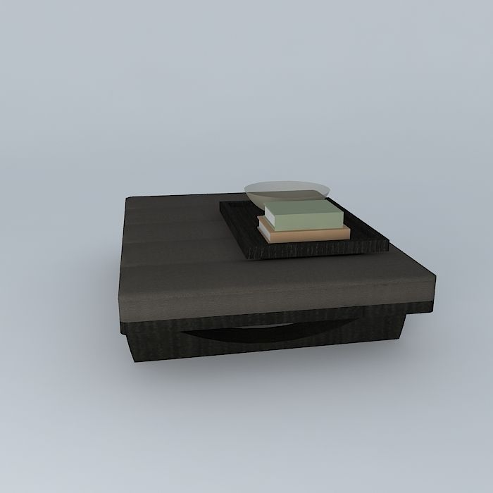 Leather Coffee Table With Tray: Leather Coffee Table With Tray 3D Model MAX OBJ 3DS FBX