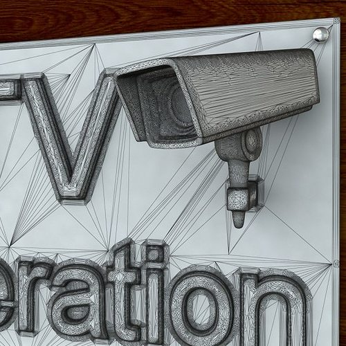 3d printable cctv sign stl obj 3d model obj stl 5
