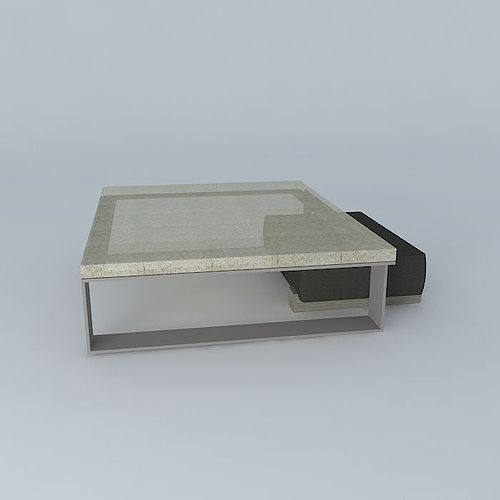 ... Cast Glass Sled Coffee Table With Leather And Wood Block Ottoman 3d  Model Max Obj 3ds ...